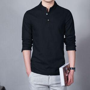 00c47a41890 Indian 100% Cotton Men Kurta Shirt T-Shirt Black Tunic Top Solid ...