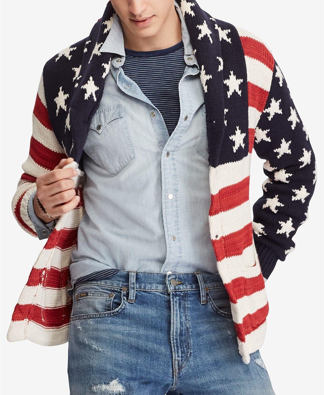Polo Ralph Lauren Men US American Flag Shawl Cardigan Sweater M L XL 2XL