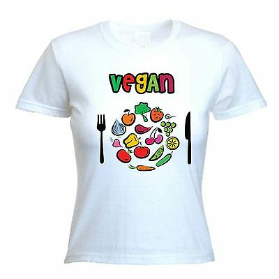VEGAN PLATE LOGO T-SHIRT - Vegetarian Veggie Animal Rights - Choice Of Colours