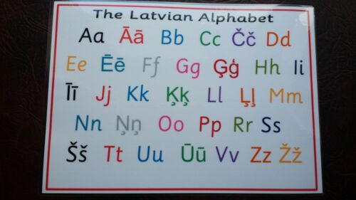 The LATVIAN Alphabet Letters A4 Laminated Poster Learn a language