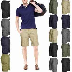 New-Mens-Elasticated-Waist-Shorts-Cargo-Combat-Plain-Summer-Holiday-Pants-S-6XL