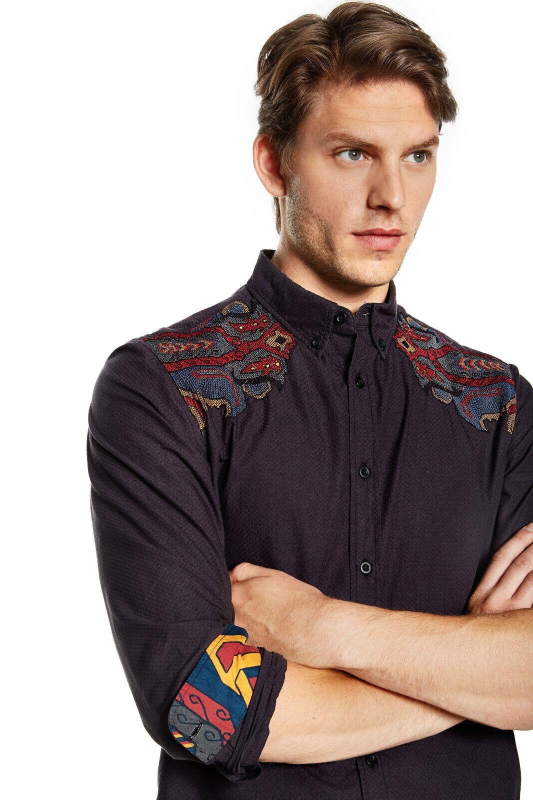 Desigual Ethnic Tribal Embroidered Mens Shirt S M L XL XXL Slim Fit NEW