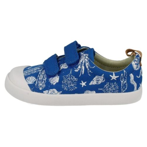 Clarks Boys Doodles Halcy High Fst Rip Tape Strap Casual Canvas Pumps