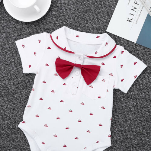 Baby Boys Formal Romper+Suspender Shorts Baptism Outfit Party Jumpsuit Costume