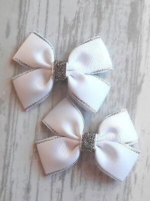 Silver Grey HAIR clips BOWS GIRLS HAIR CLIPS Hair Bows  Silver pair of hair clip