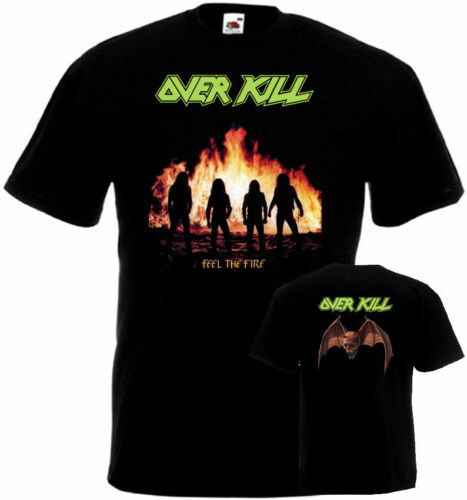 OVERKILL Feel The Fire T-shirt double sided black all sizes S...5XL