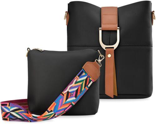 Shopper Damentasche 2 in1 Set Riemen mit Muster Schultertasche schwarz bunt