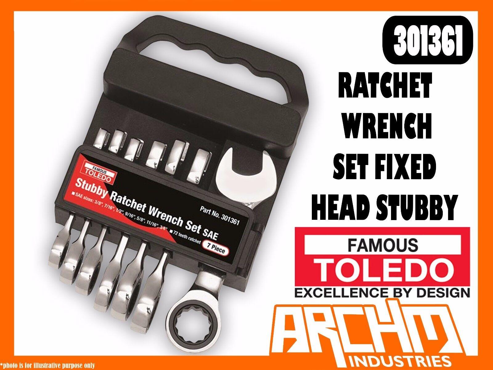 TOLEDO 301361 - RATCHET WRENCH SET FIXED HEAD STUBBY - SAE 7 PC. (3/8