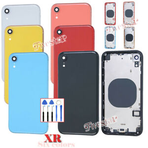 For-iPhone-XR-Replacement-Metal-Glass-Back-Battery-Cover-Frame-Door-Housing-Case