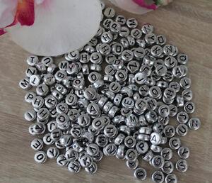 3 250 Perlen Kunststoff 7 Mm Buchstaben Silber Abc Armband