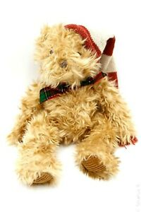 RUSS-BERRIE-Chestnut-Christmas-Stuffed-Plush-Toy-Teddy-Bear-w-Stocking-Cap