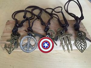 Vintage-Cool-Alloy-Pendant-Adjustable-Brown-Leather-Cord-Mens-Necklace-Chain-USA