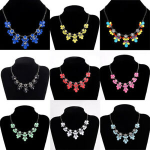 Fashion-Women-Pendant-Chain-Crystal-Flower-Choker-Chunky-Statement-Bib-Necklace