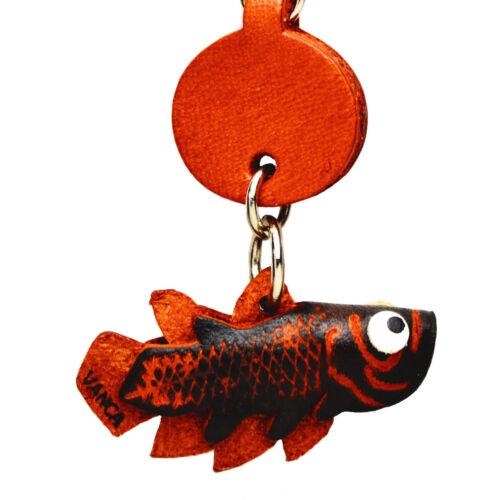 Coelacanth Handmade 3D Leather Fish Keychain VANCA Keychain Made in Japan #56301
