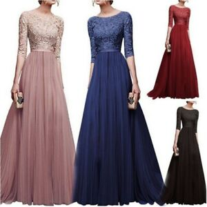 Womens-Evening-Formal-Party-Bridesmaid-Lace-Maxi-Dress-Ladies-Prom-Long-Gown-New