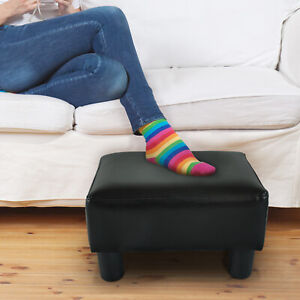 HOMCOM Modern Small PU Leather Ottoman Footrest Sofa Bench Stool Rectangle Black