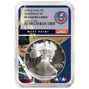 1995-W-Proof-1-American-Silver-Eagle-NGC-PF70UC-West-Point-Core