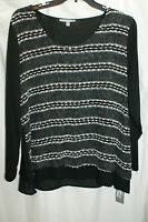 2x Womens Ny Collection Black/white Sweater W Sheer At Bottom,