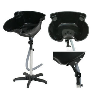 Height Adjustable Portable Salon Hair Shampoo Basin Treatment Bowl Black