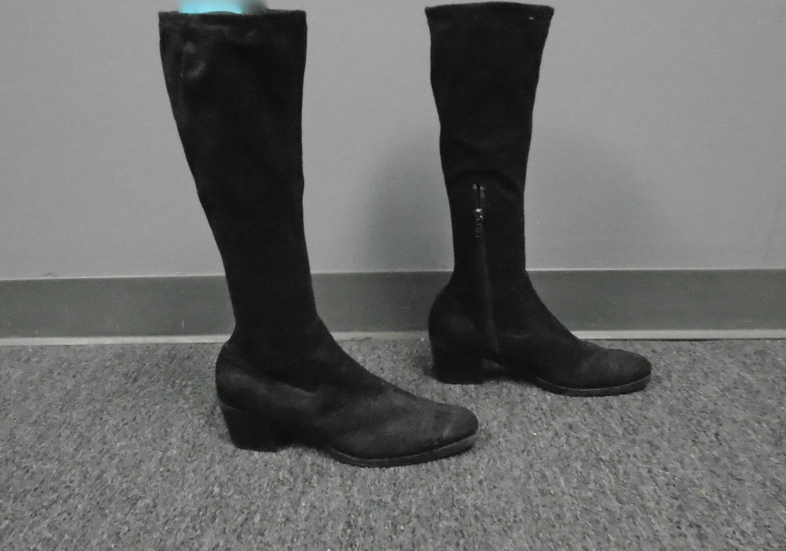 PRADA Black Suede Mid Calf Zip Up Embroidered Round Toe Boots Size 37.5 B3797