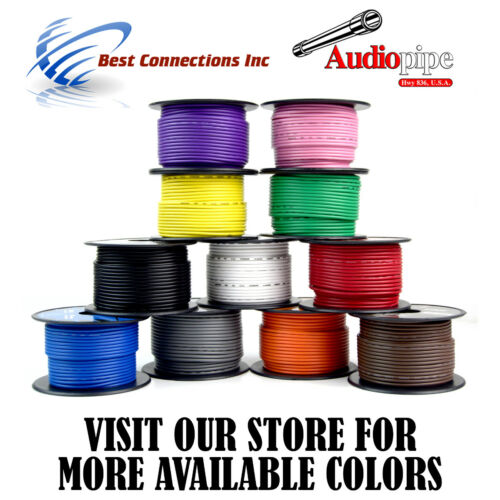 18 GA 100/' Feet Gray Audiopipe Car Audio Home Remote Primary Cable Wire LED