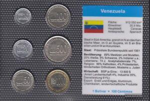 Venezuela-Stgl-unzirkuliert-Kursmuenzen-2002-2005-10-Bolivar-bis-1-000-Bolivar