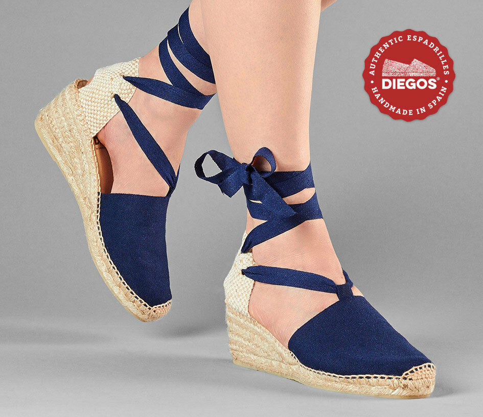 Diegos® Authentic Handmade Spanish Navy Blau Lola lace-up Espadrille high wedge