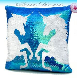Image Is Loading GIRLS JUSTICE UNICORN FLIP SEQUIN PILLOW NWT