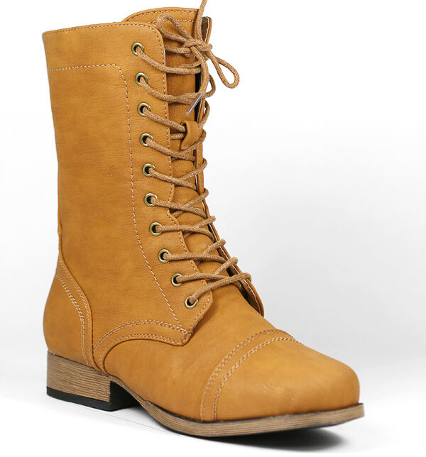 Whisky Brown Faux Leather Cap Toe Mid Calf Lace Up Military Combat Boots