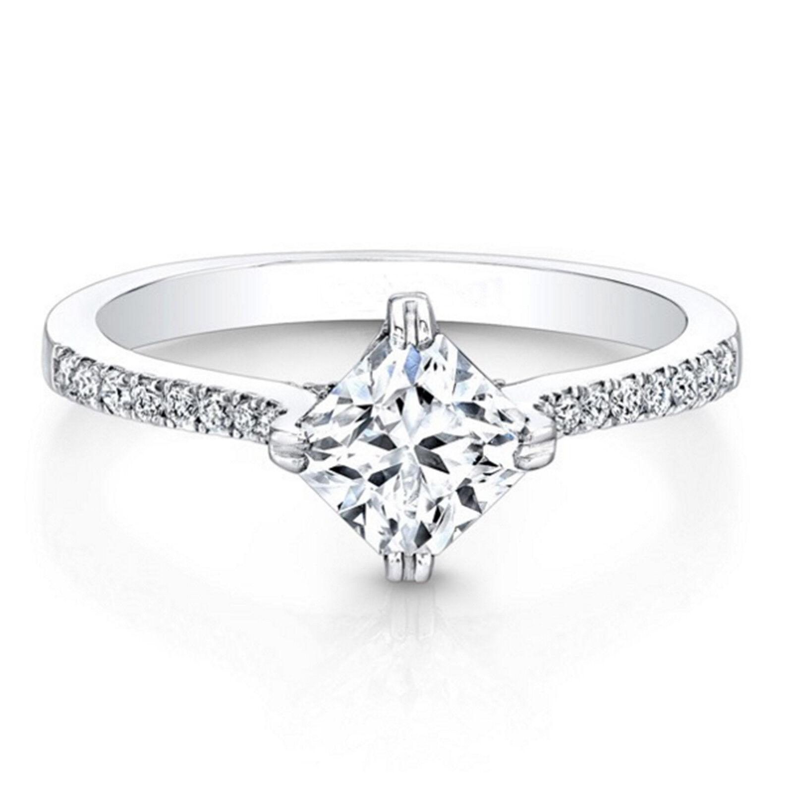 0.66 Ct Real Genuine Diamond Engagement Wedding Ring 14K White gold Rings Size 8