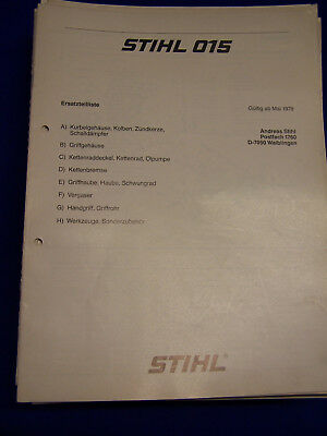 Collection Here Originale Lista Parti Di Ricambio 05/1978 Stihl 015 Rarità Agriculture & Forestry