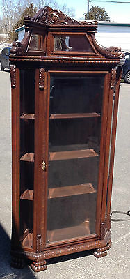 R.J.HORNER ANTIQUE 1880 CORNER CARVED CURIO DOLPHIN LION CLAW FOOT CHINA CABINET