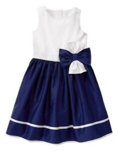 GYMBOREE-EGG-HUNT-NAVY-w-WHITE-BODICE-N-BOW-EASTER-DRESSY-DRESS-4-6-8-NWT
