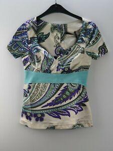 Damen-Damenshirt-Shirt-Blusenshirt-NEU-Ciolla-Beige-Lila-Tuerkis-Groesse-38-M