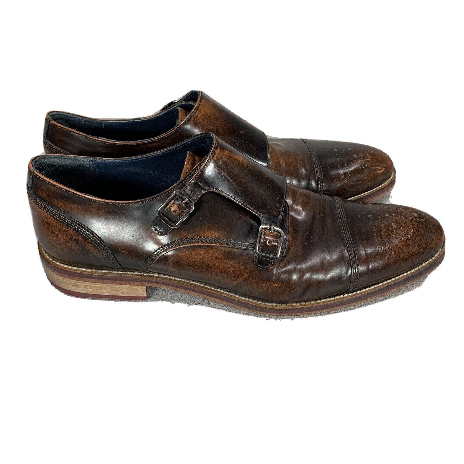 Mens Johnston & Murphy Wingtip Dbl Monkstrap Bronze Brown Dress Shoes Italy 11M