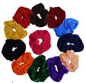 12 Velvet Hair Scrunchies Elastic Scrunchy Bobbles ponytail holder SET of 7