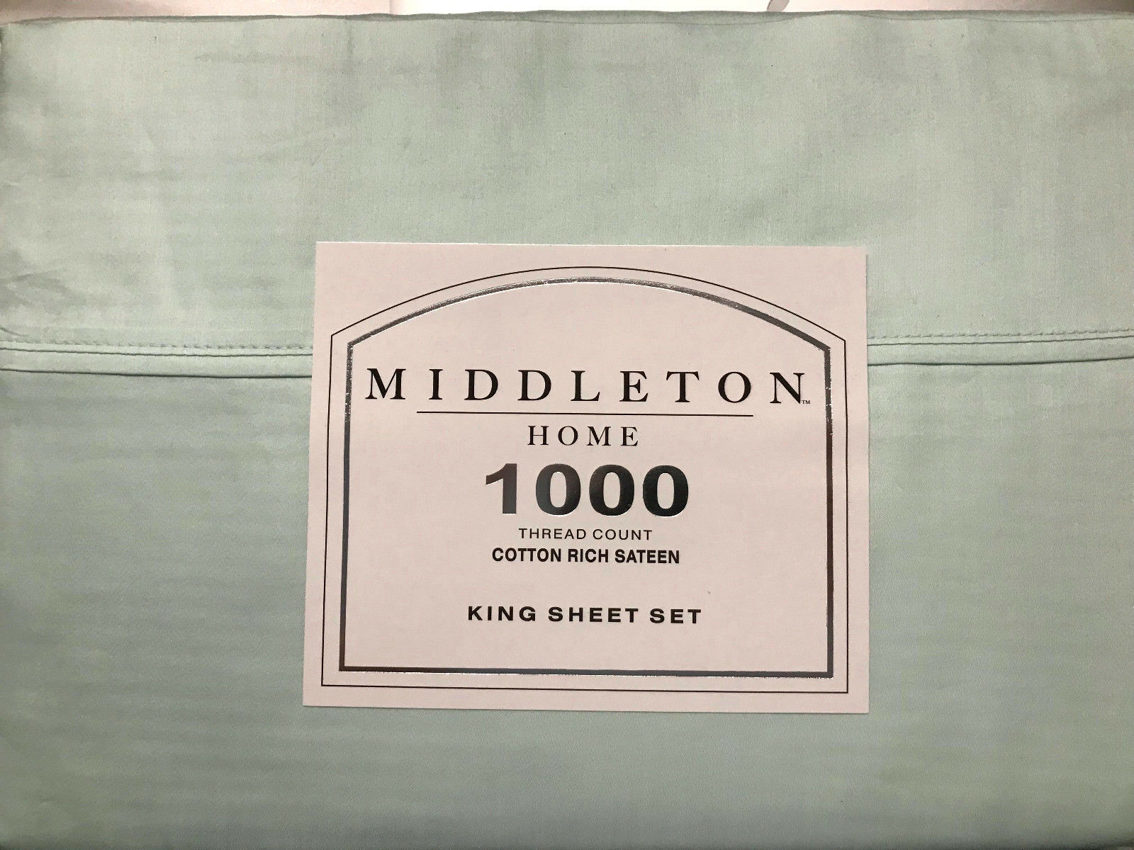 4PC KING SHEET SET AQUA 1000 THREAD COUNT COTTON RICH SATEEN BY MIDDLETON NEW