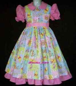PIGLET SZ 1 POOH TIGGER COTTON DRESS MULTI COLOURED MADE IN AUSTRALIA EEYORE