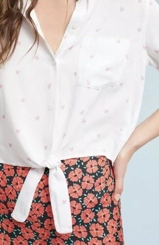 Details about  /NEW Anthropologie Rails Val Scribble Heart Blouse Size Large