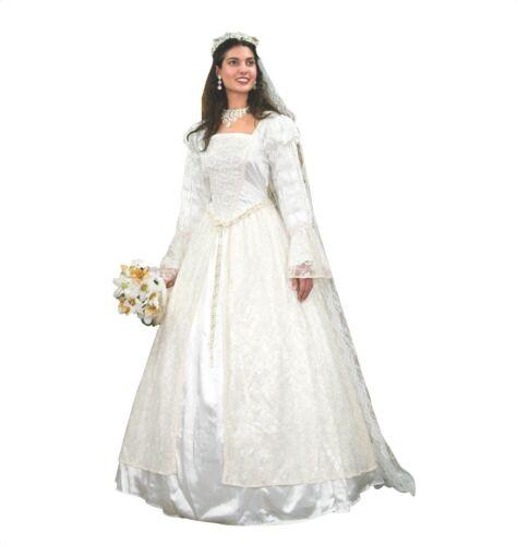 Renaissance White Wedding Gown w/ Veil