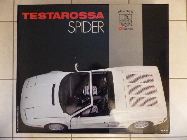 Pocher Rivarossi Ferrari Testarossa Spider weiß Bausatz 1 8 OVP  | Angemessener Preis
