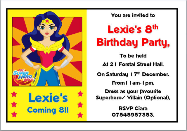 10 Dc Super Hero S Wonder Woman Birthday Invitations With Envelopes