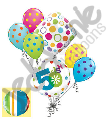 7 pc 50-ish Happy Birthday Balloon Bouquet 50th Fifty Party Decoration Young
