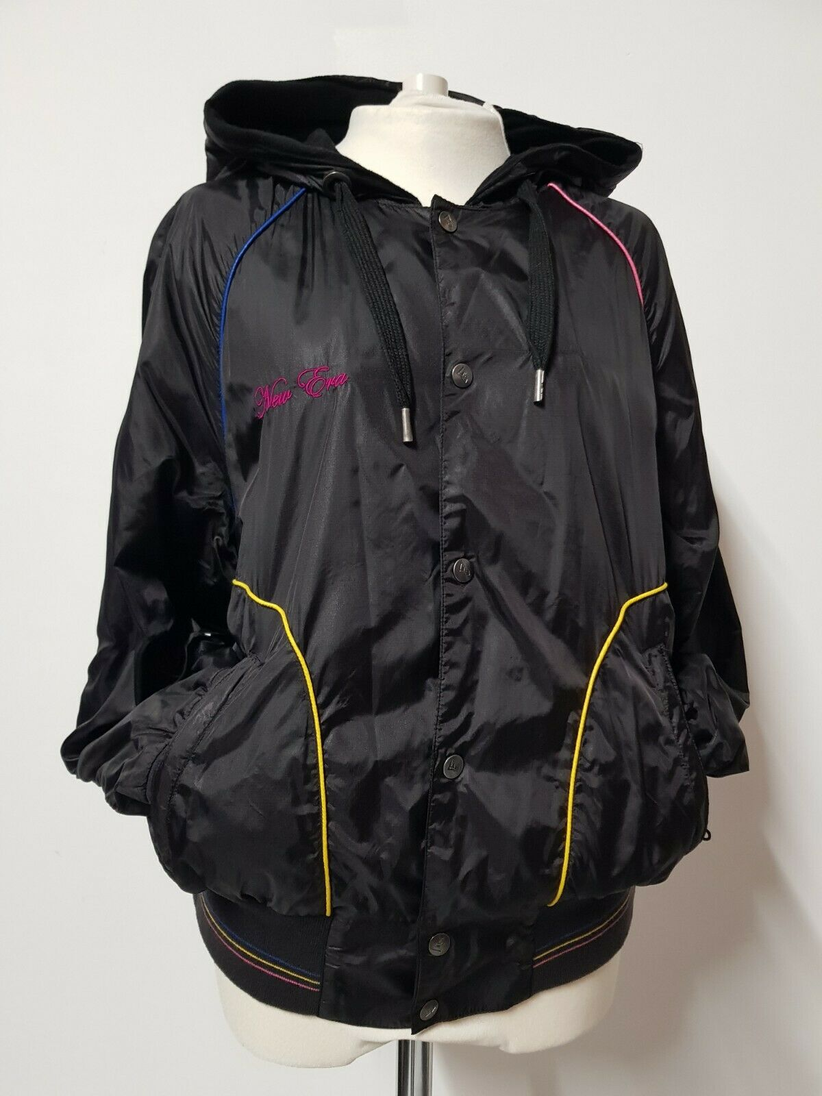 New Era Wet Look Full Zip Hooded Jacket Size M