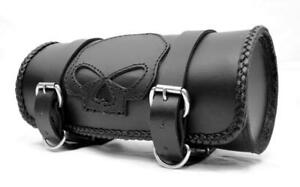 Sacoche-sac-trousse-de-fourche-Rool-bag-a-outils-Cuir-Tete-de-Mort-SKULL-Custom