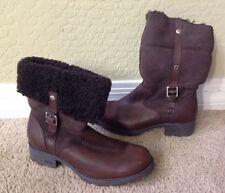 UGG Bellvue Women's Brown  Leather Zip Winter Boots 1914 Buckle Sz 8 European 39