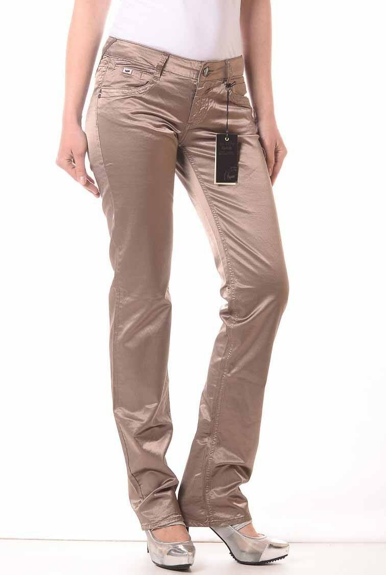 New GAS DARLINE A 58710 Women's Brown Bright Satin Trousers Pants Size 25 or 26