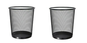2 pack Steel Metal Mesh Waste Basket Trash Can Bin Home /& Office Silver
