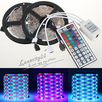 10M 3528 SMD RGB 600LEDS FLEXIBLE STRIP LIGHTING + 44 KEY IR REMOTE CONTROLLER
