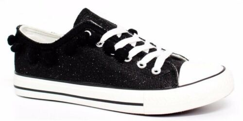 Womens ladies flat glitter sparkly Pom Lace casual plimsoles trainers shoes size